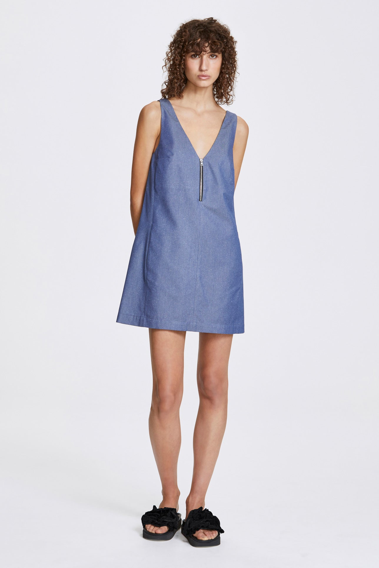 Zip a-line dress - Silk cotton - Blue denim