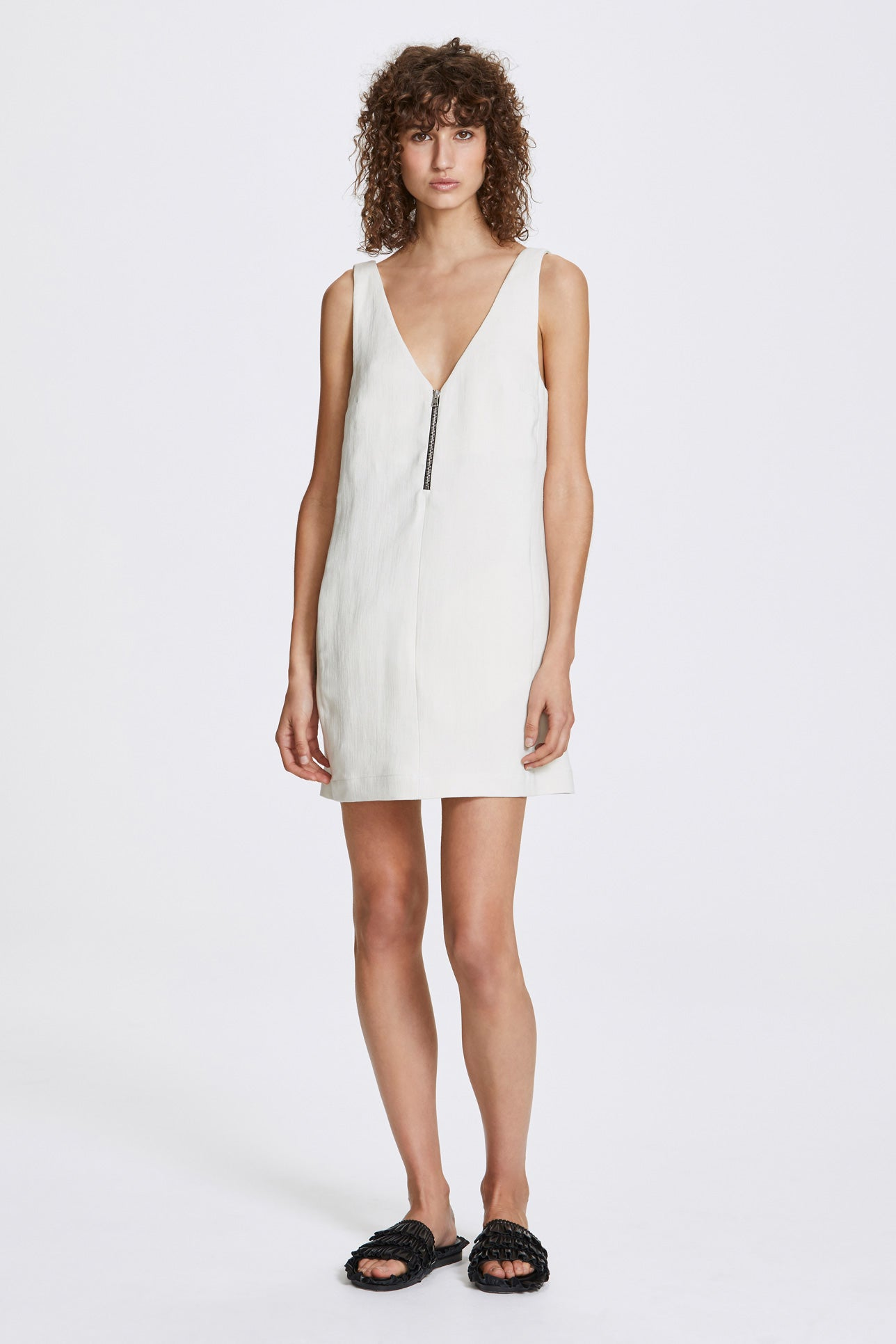Zip a-line dress - Heavy linen - Natural