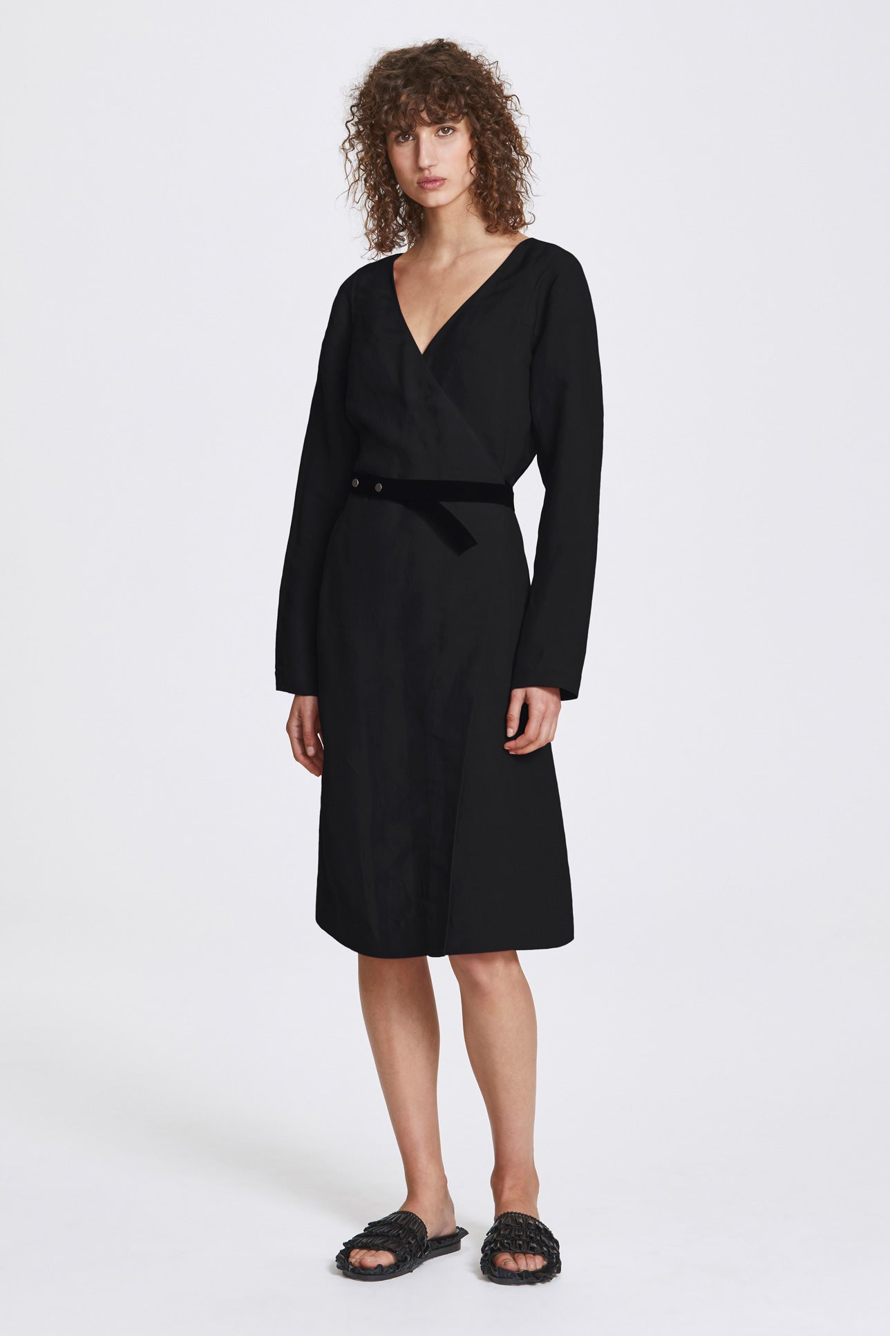 Bi-stud wrap dress - Linen blend - Black