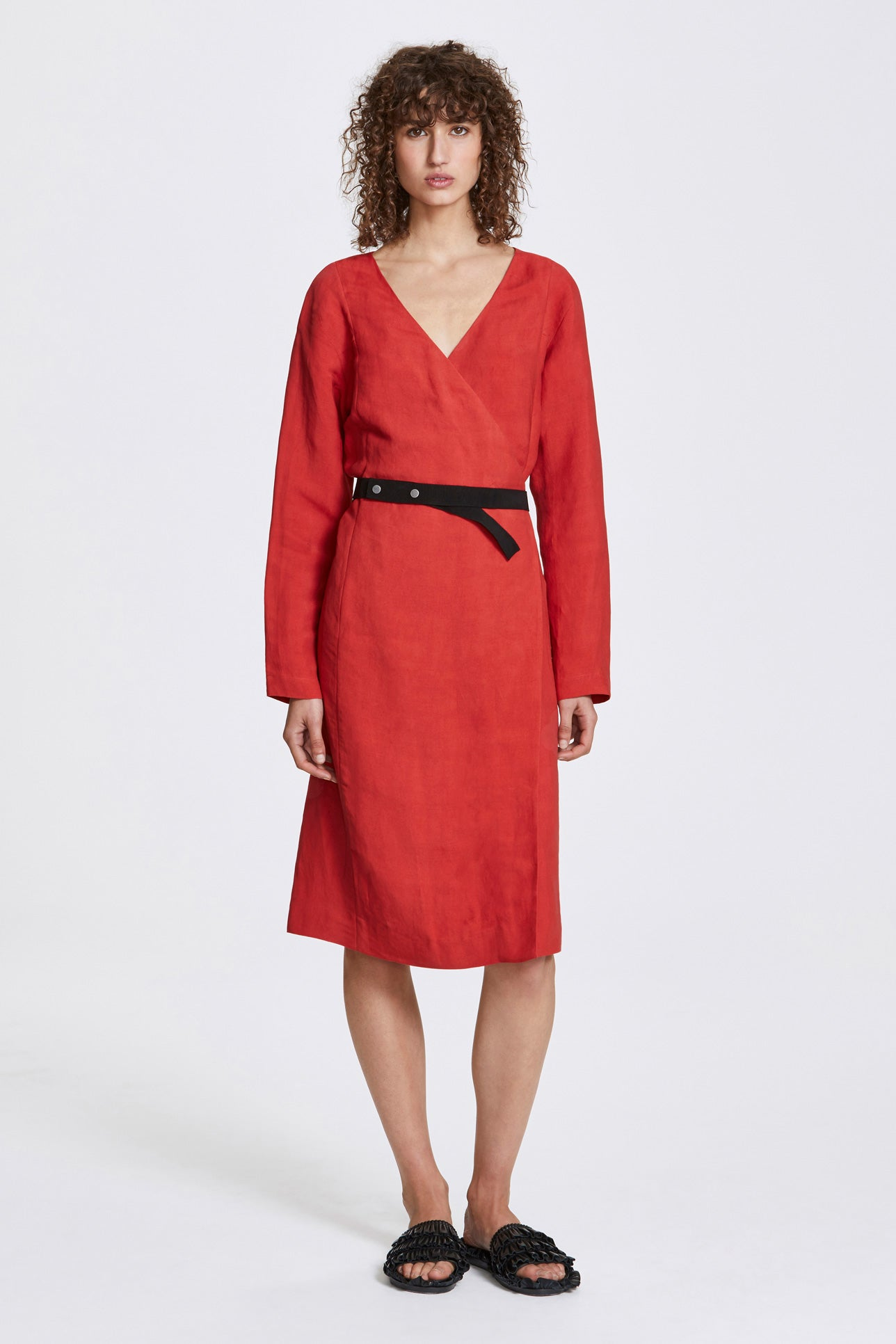 Bi-stud wrap dress - Linen blend - Lava red