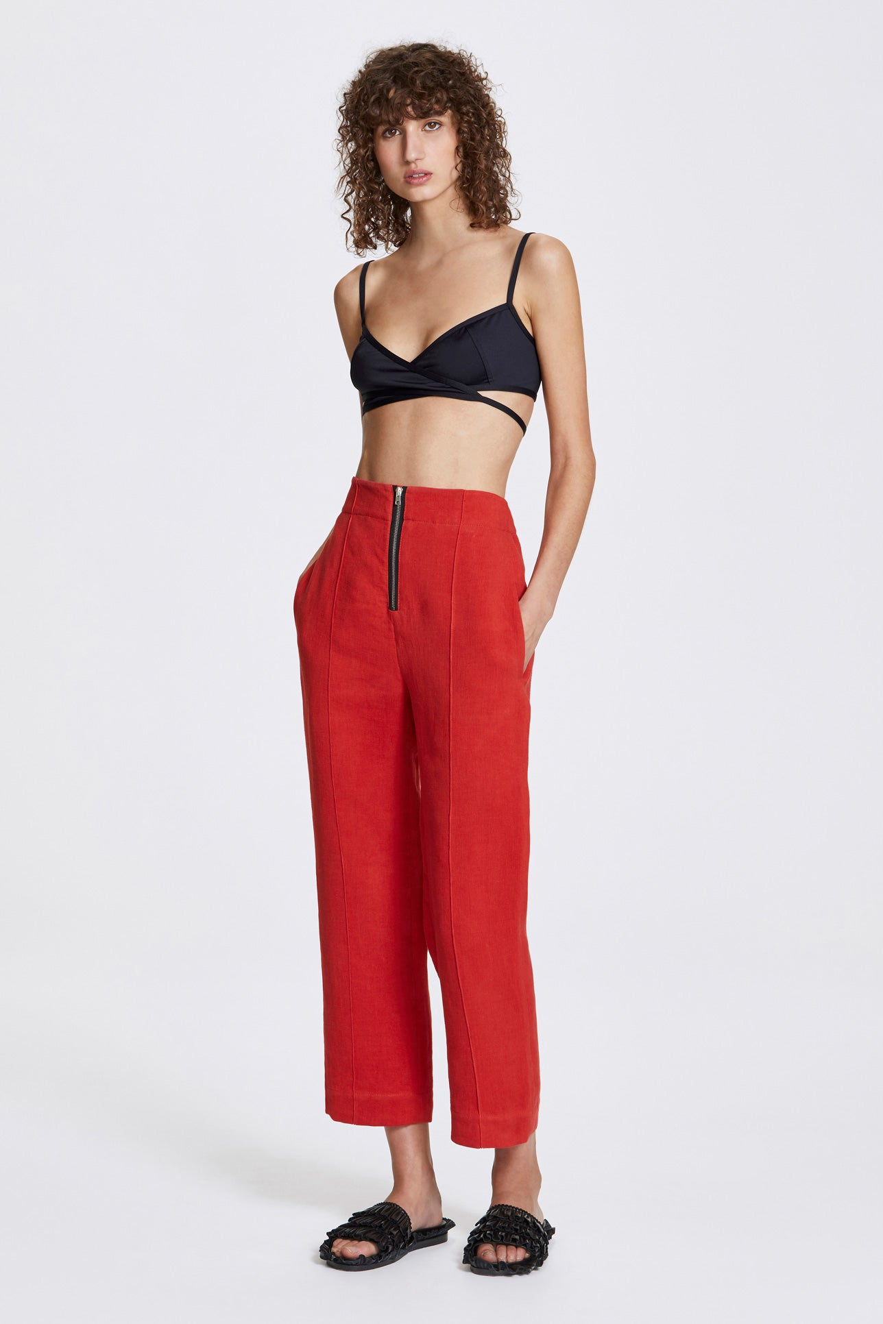 Exposed cropped leg trousers - Heavy linen - Lava red