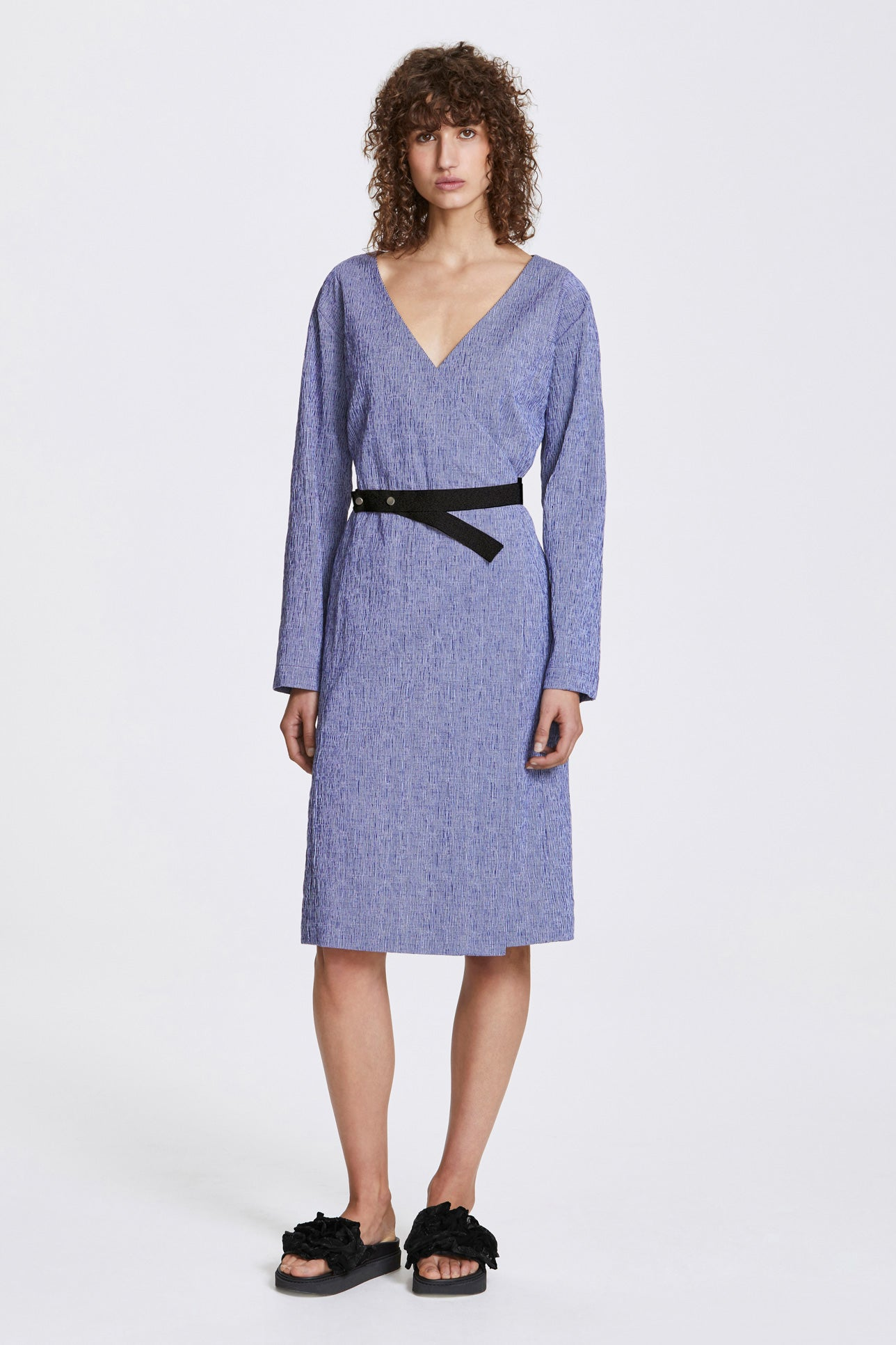 Bi-stud wrap dress - Textured cotton stripe - Blue and white