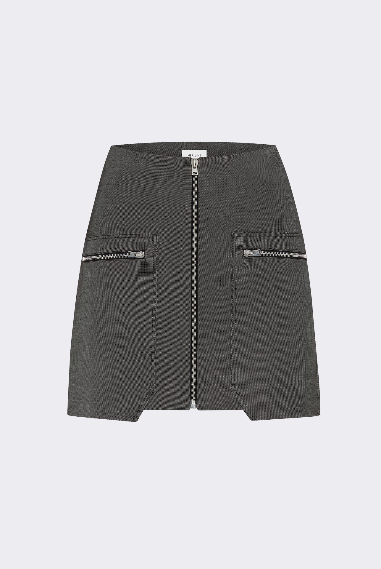 Patched zip mini skirt - Double-faced cotton twill - Grey