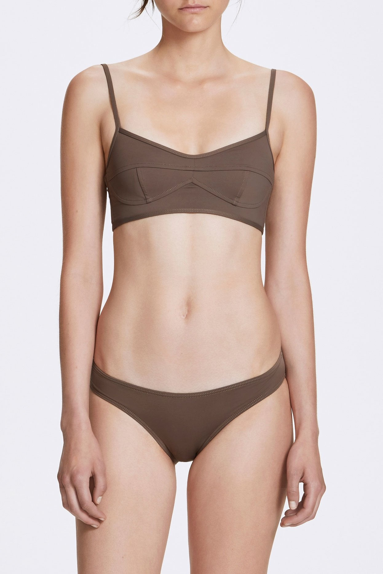 Her Line Classic Low Swimwear Brief Terra Brown Front 1