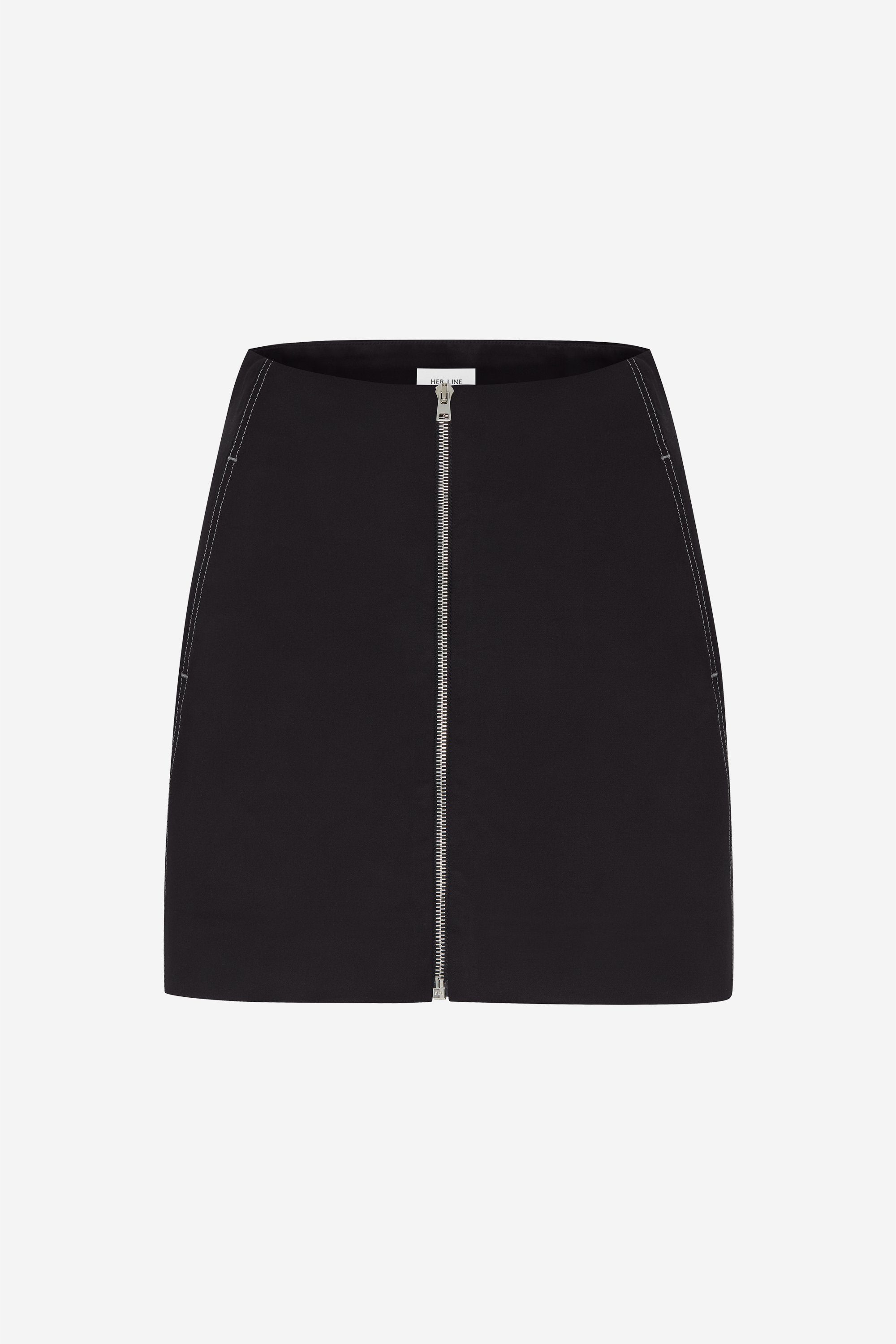 Twin stitch zip mini skirt - Cotton drill - Black - Resortwear skirt - Her Line