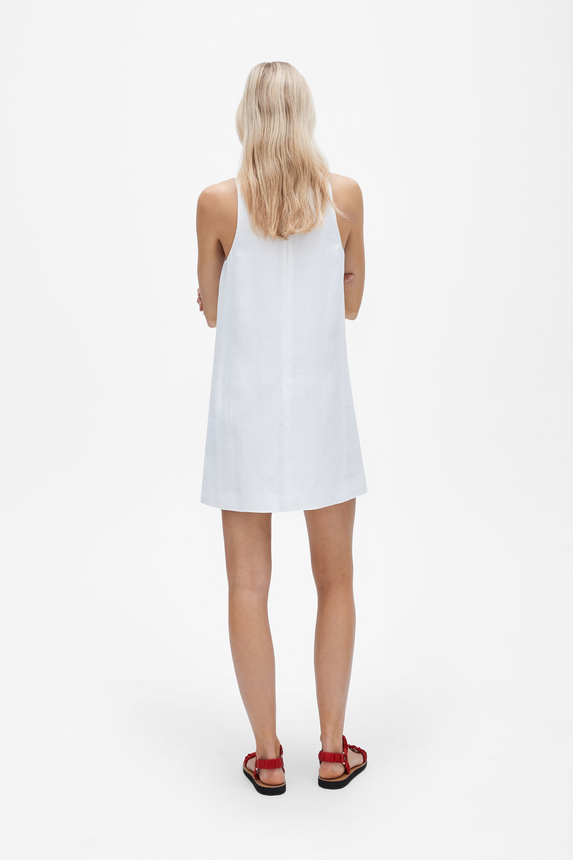 Crew neck mini dress - Linen blend - White - Resortwear dress - Her Line