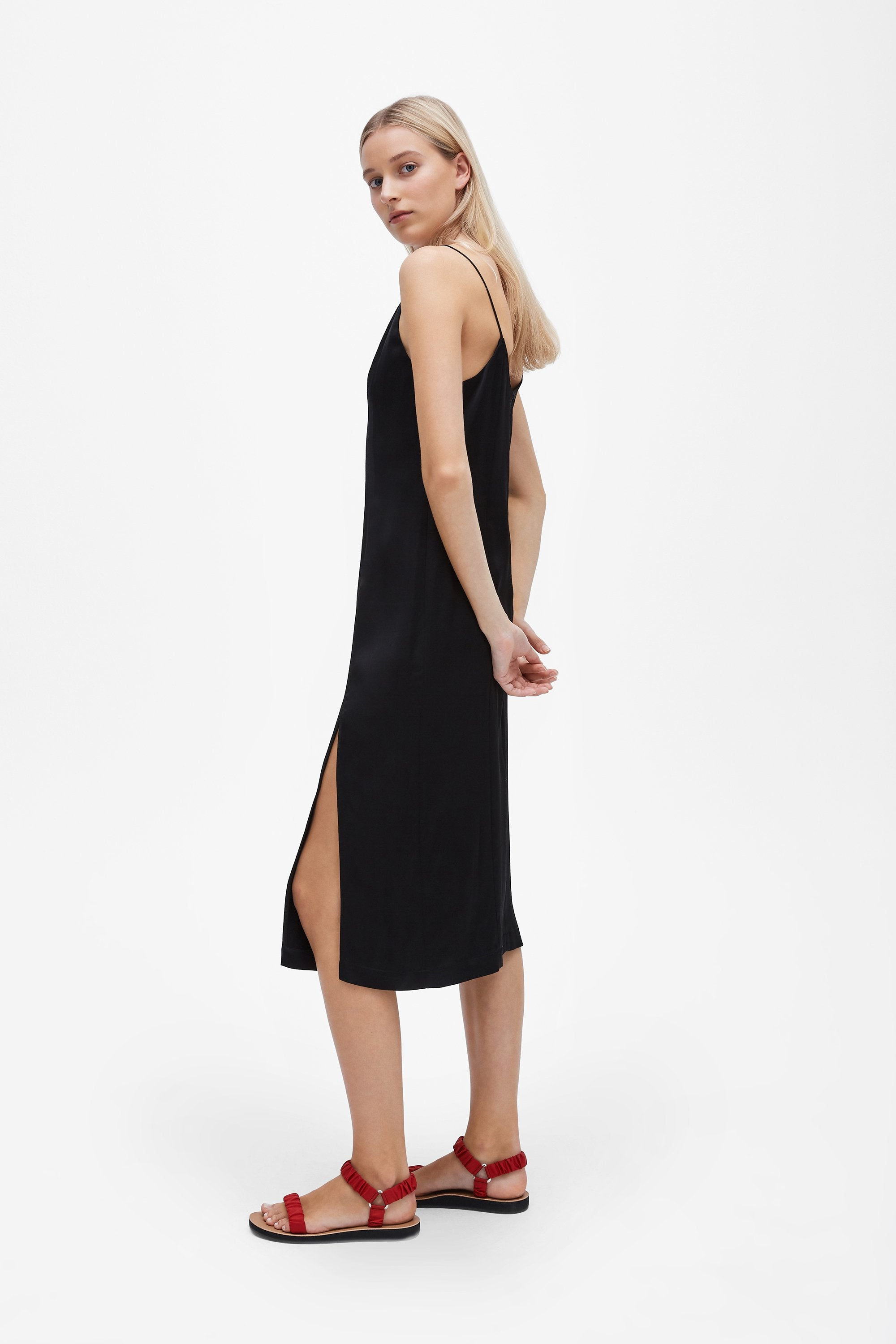 Split slip dress - Sandwashed silk satin - Black - Resortwear dress - Her Line