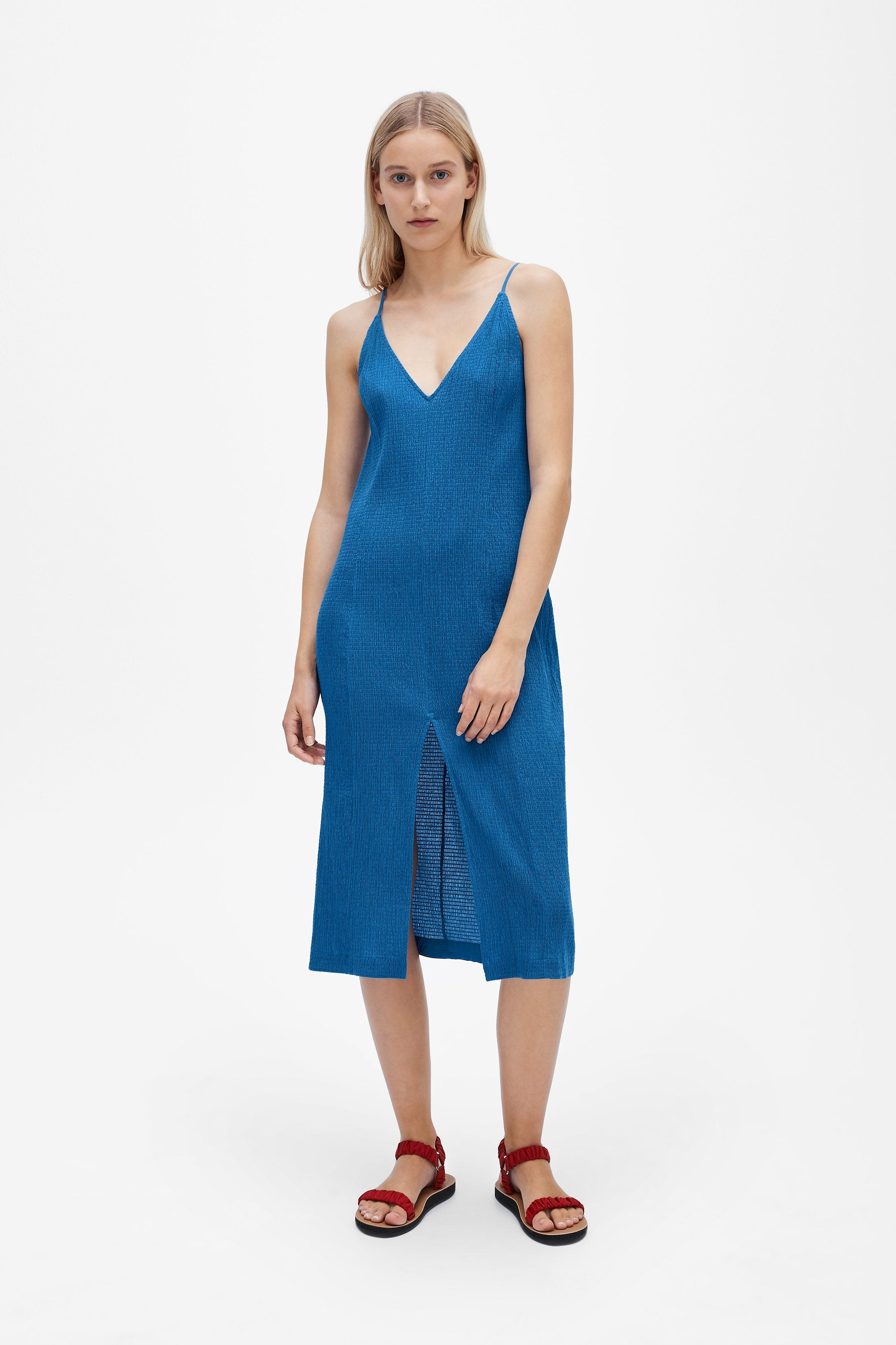 Split slip dress - Shirred voile - True blue - Resortwear dress - Her Line