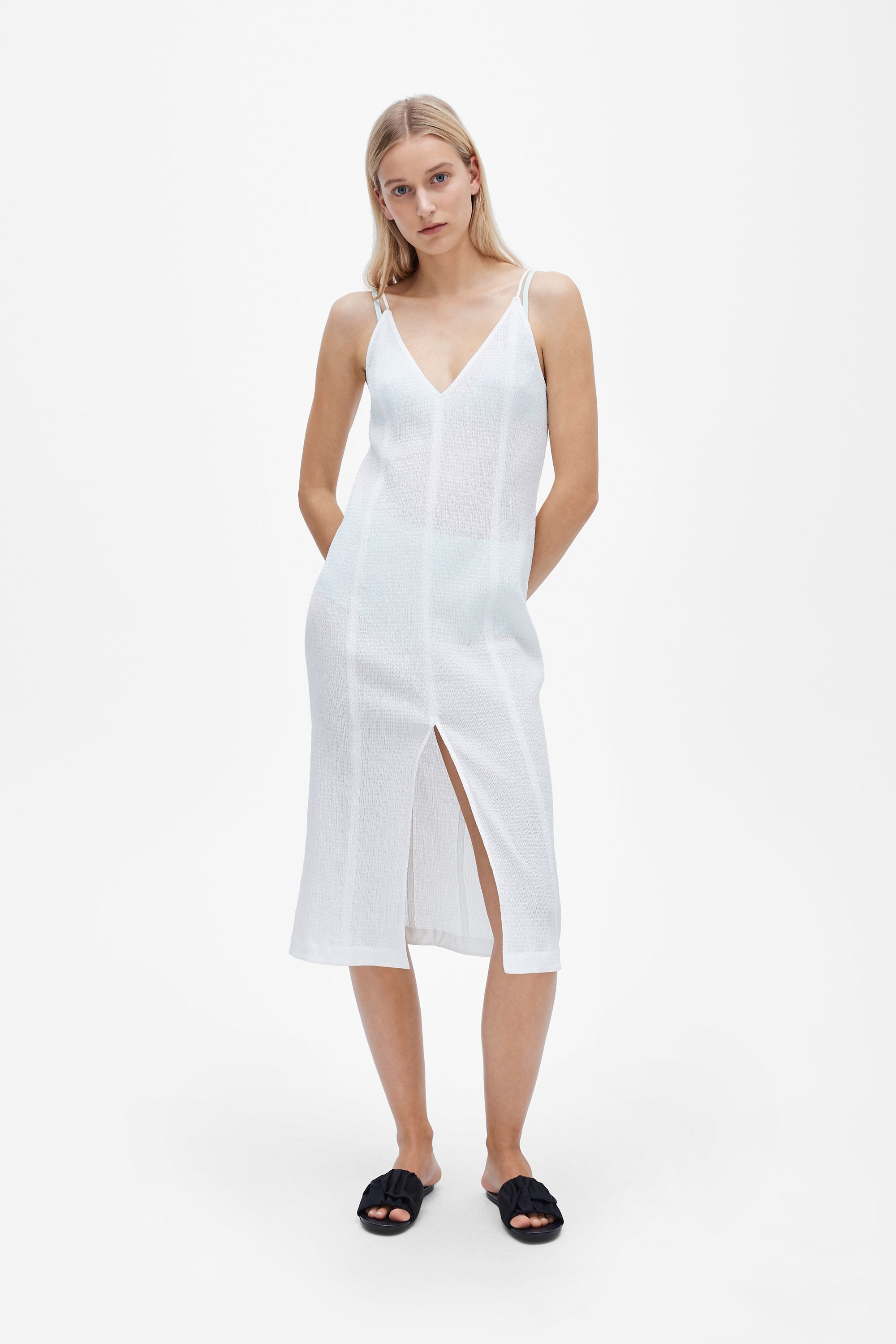 Split slip dress - Shirred voile - White - Resortwear dress - Her Line
