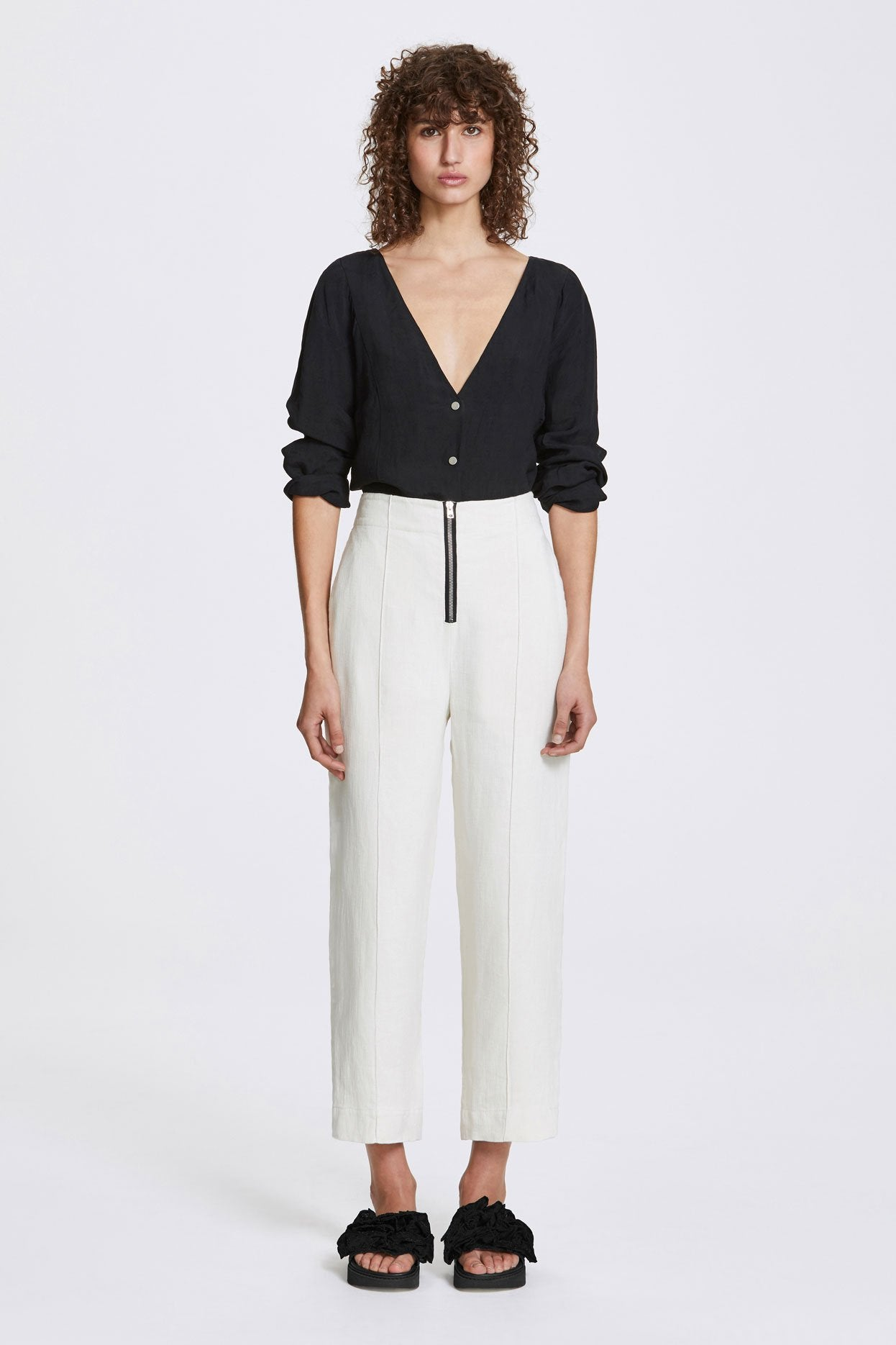 Her Line Exposed Wide Leg Trousers Heavy Linen Natural Front
