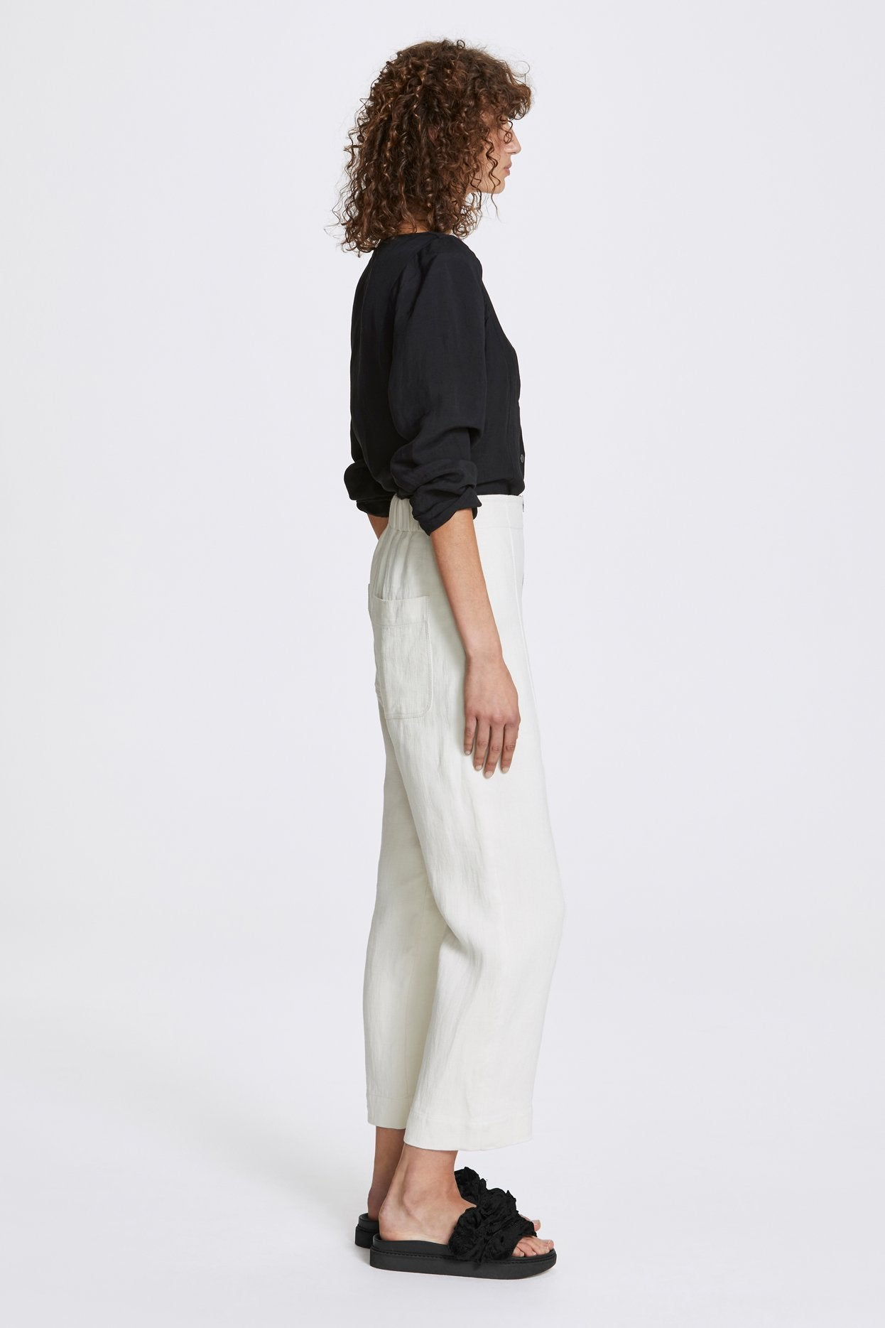 Her Line Exposed Wide Leg Trousers Heavy Linen Natural Side 2