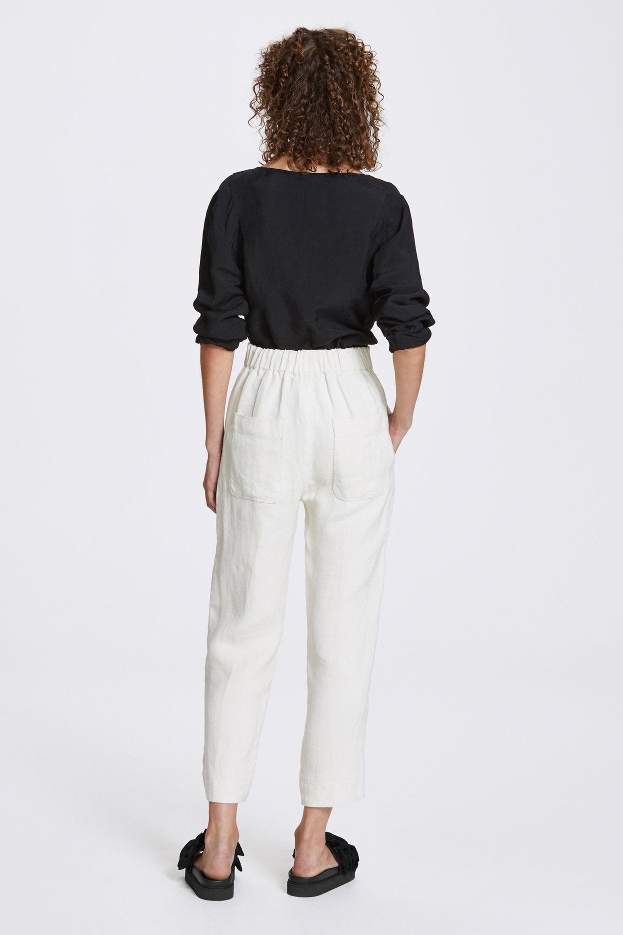 Her Line Exposed Wide Leg Trousers Heavy Linen Natural Back