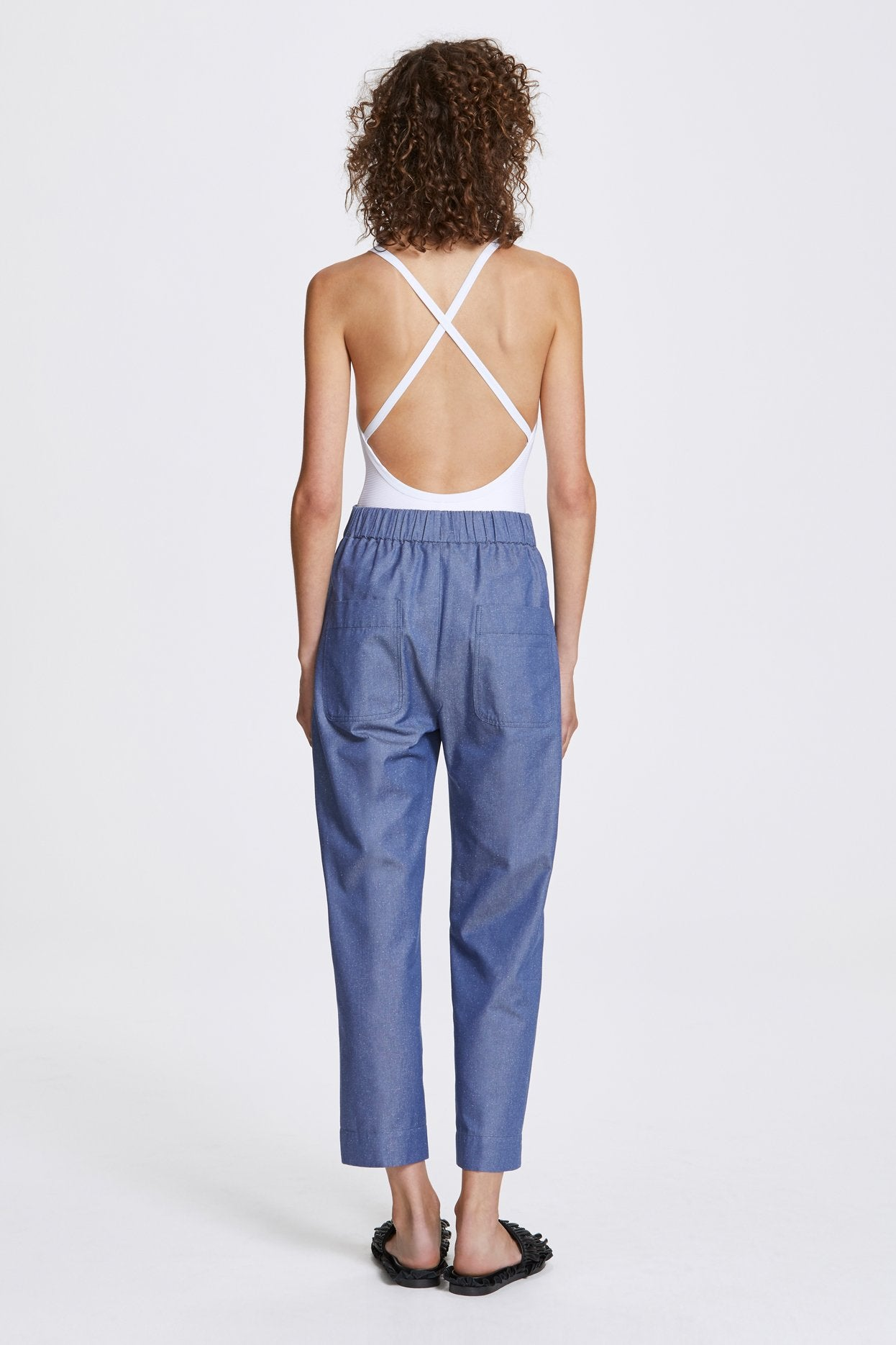 Her Line Exposed Wide Leg Trousers Silk Cotton Denim Back