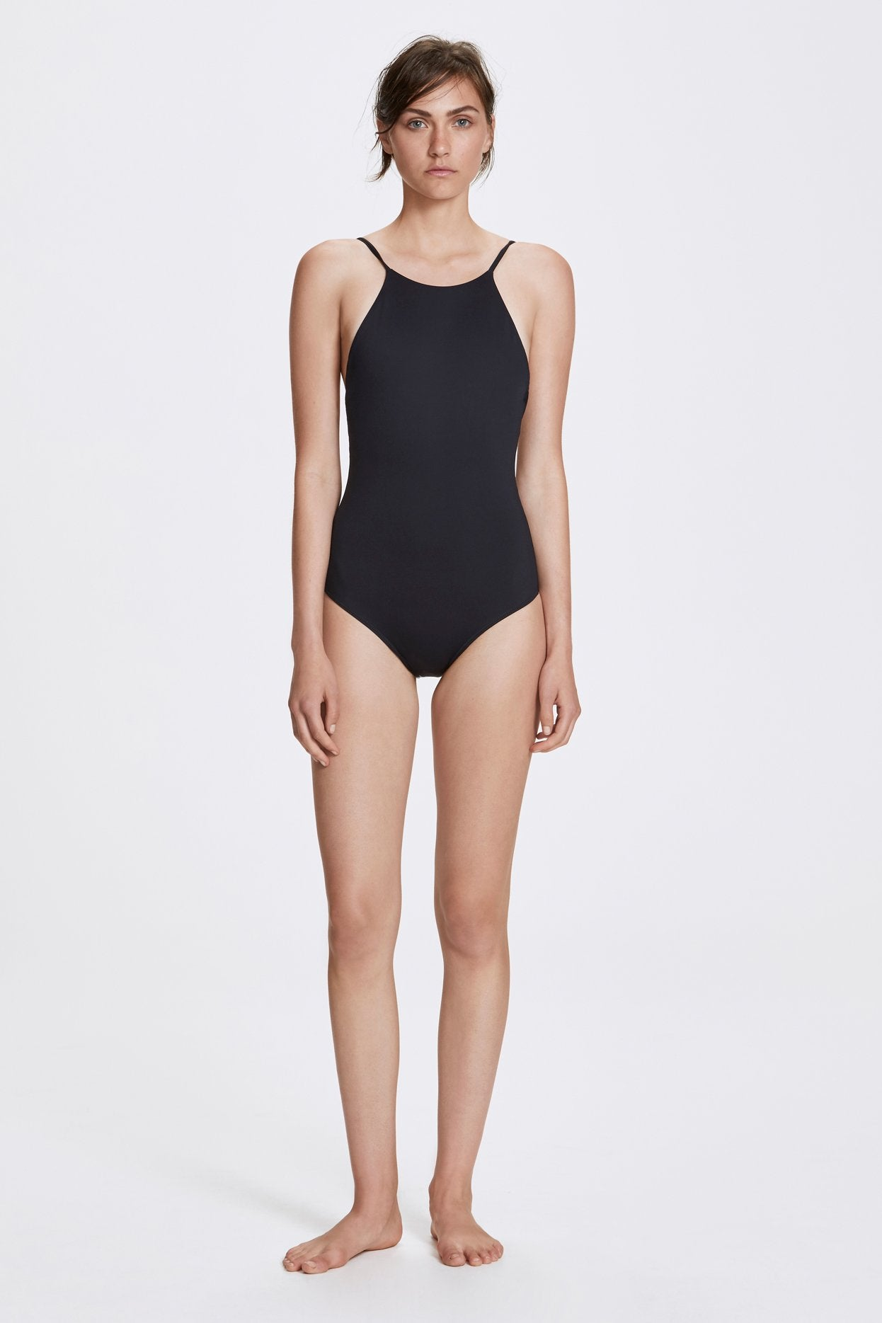 Her Line Jill Swimwear One Piece Coal Black Front