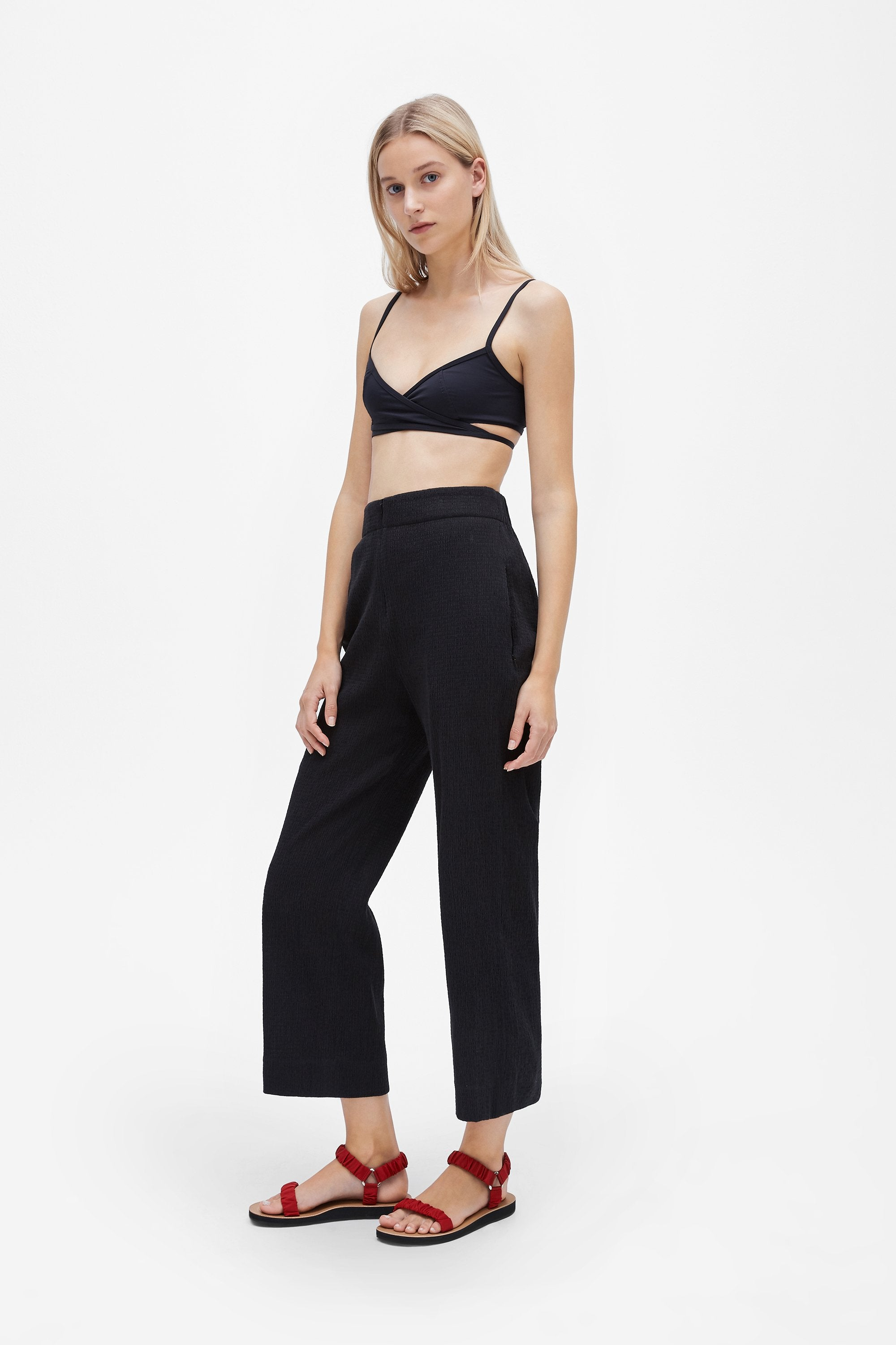 Invisible wide-leg trousers - Shirred voile - Black - Resortwear trouser - Her Line