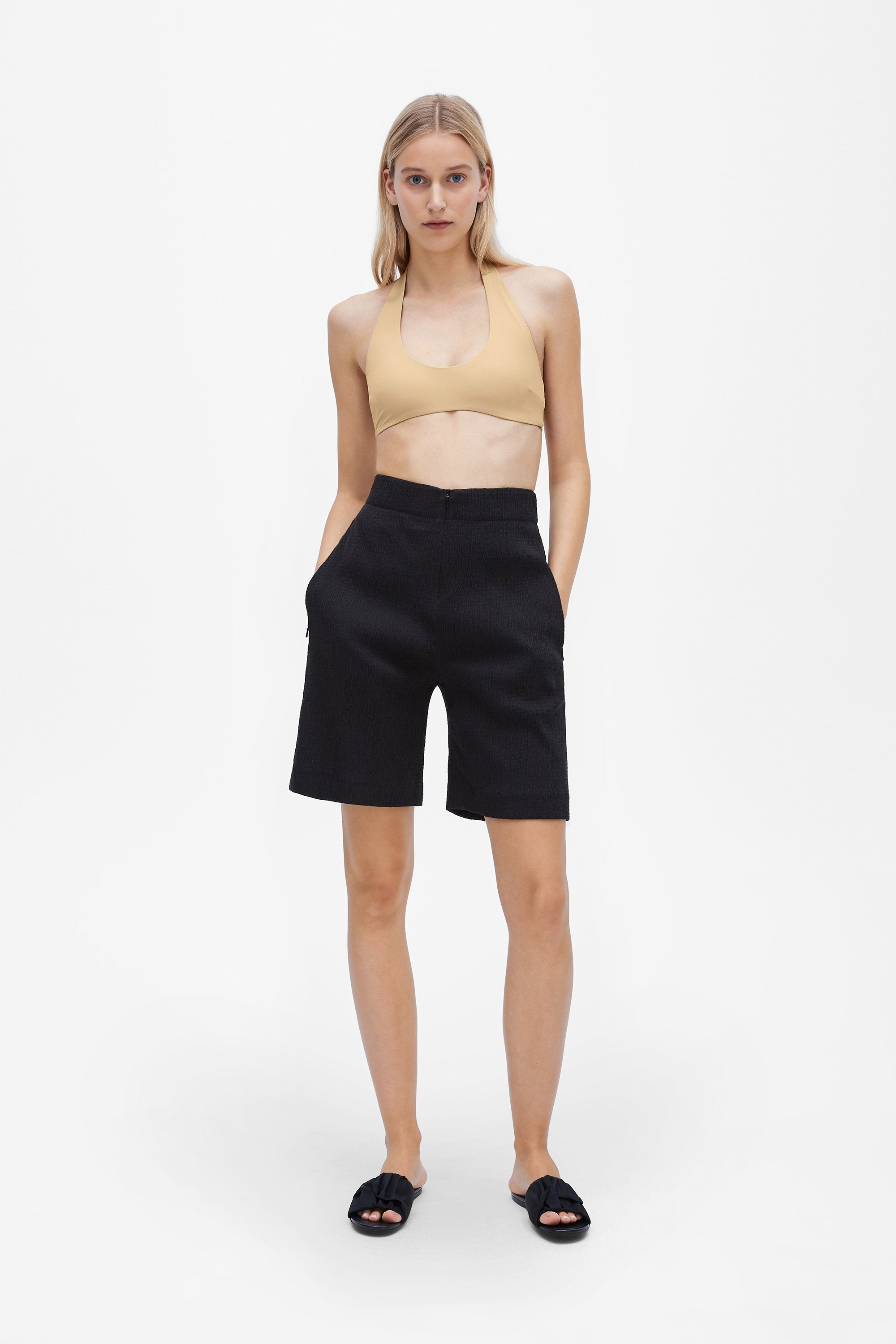 Invisible wide-leg shorts - Shirred voile - Black - Resortwear shorts - Her Line