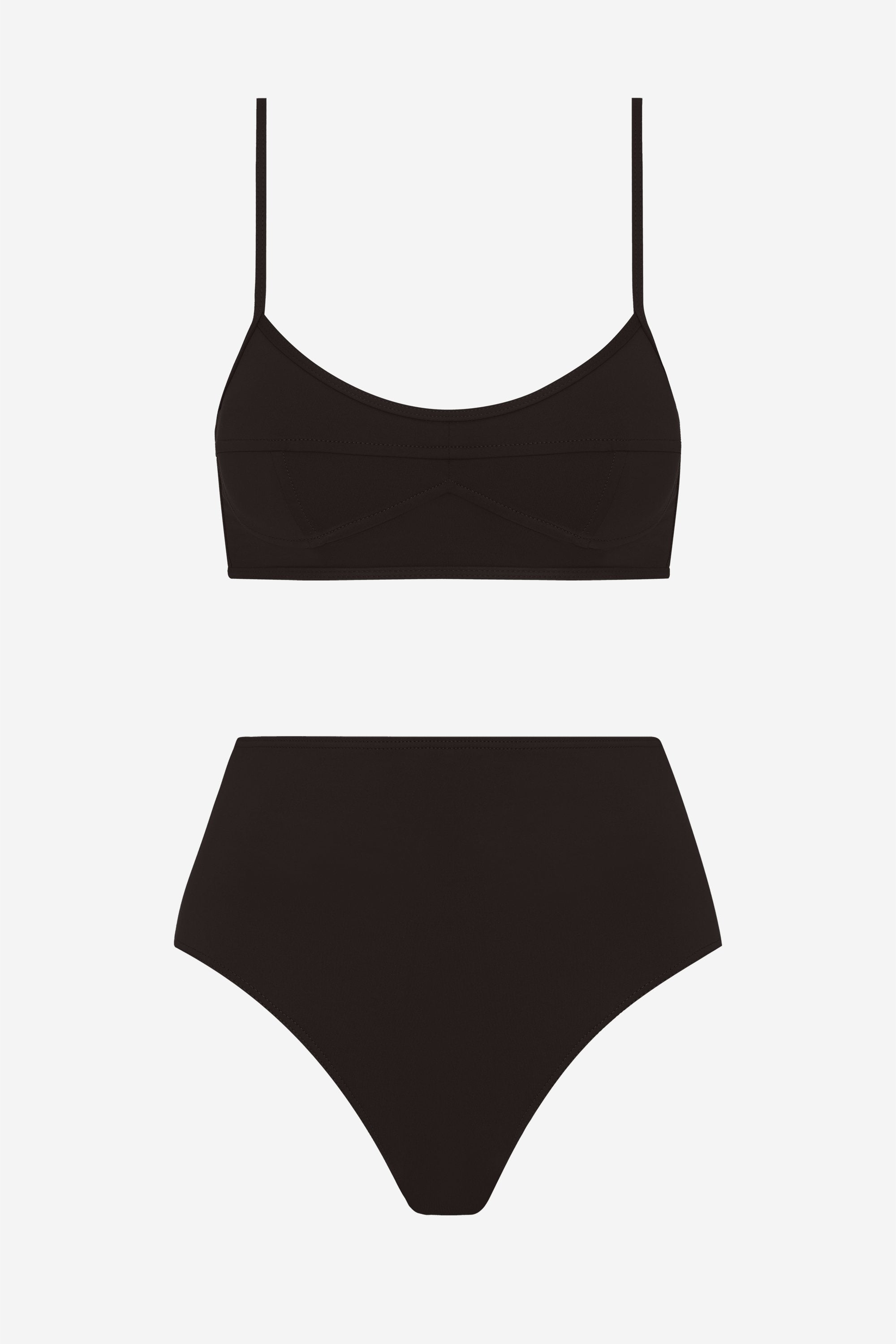 Suzi two-piece set - Coal black - Swim two piece - Her Line