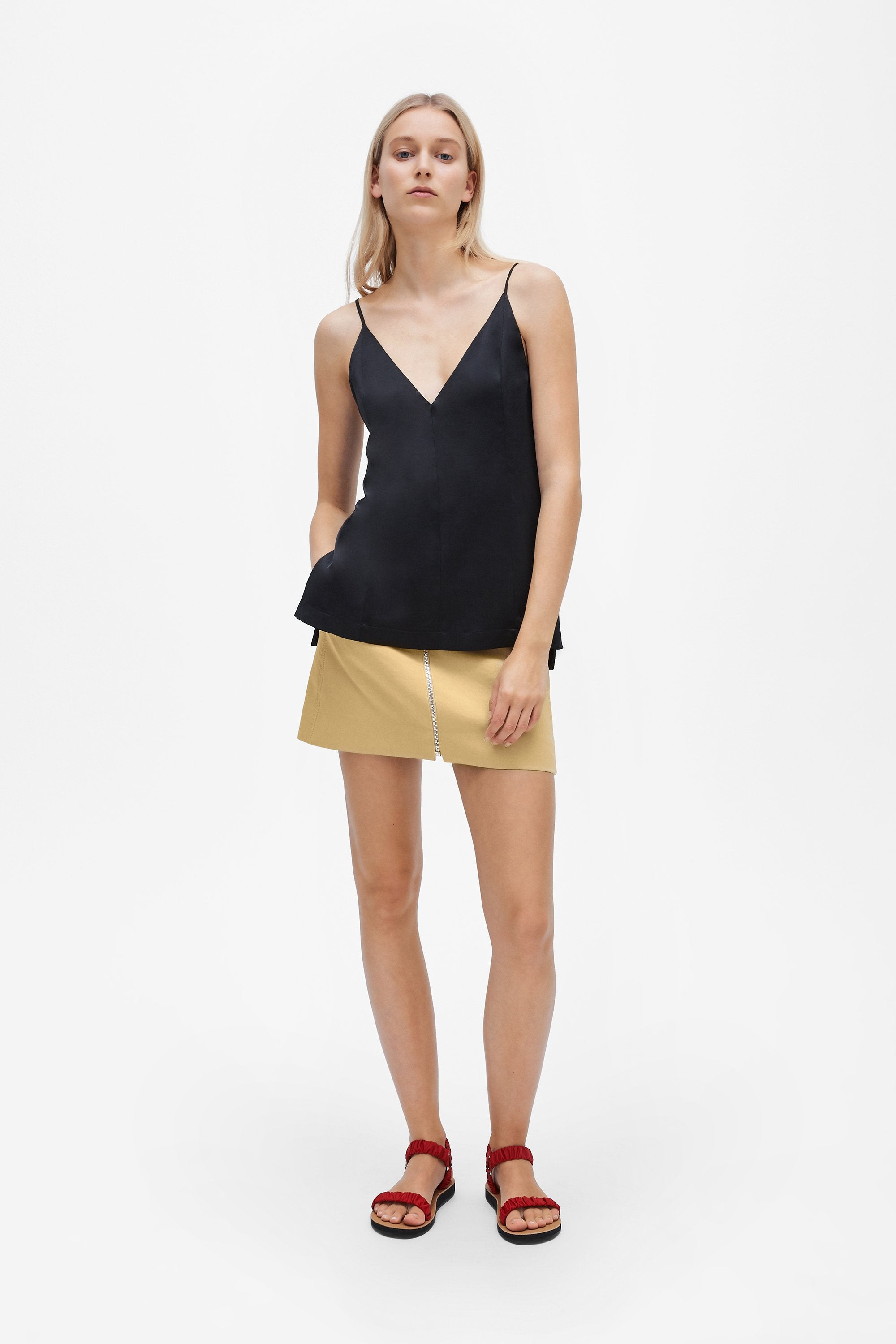 Split camisole top - Sandwashed silk satin - Black - Resortwear top - Her Line