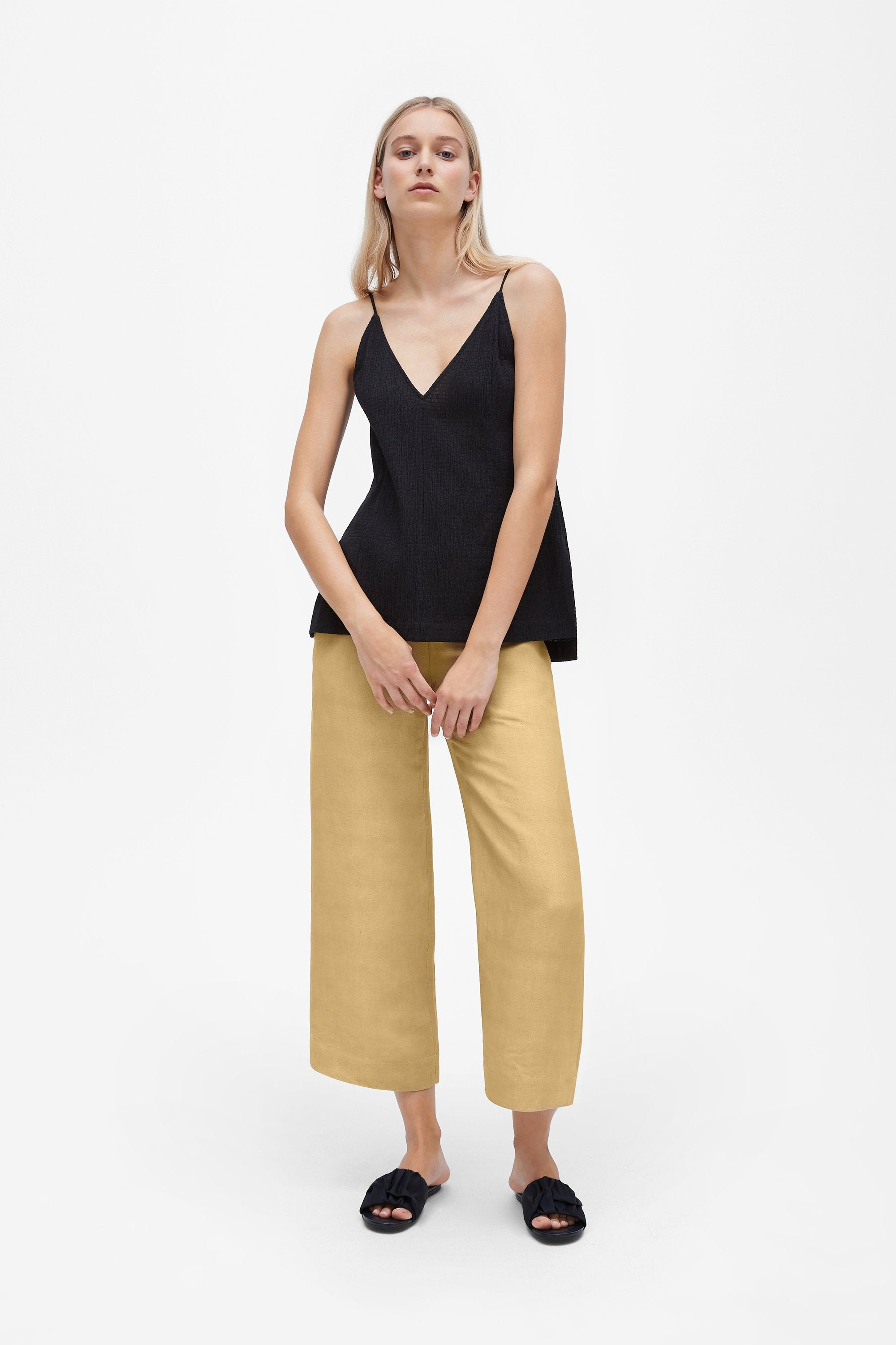 Split camisole top - Shirred voile - Black - Resortwear top - Her Line