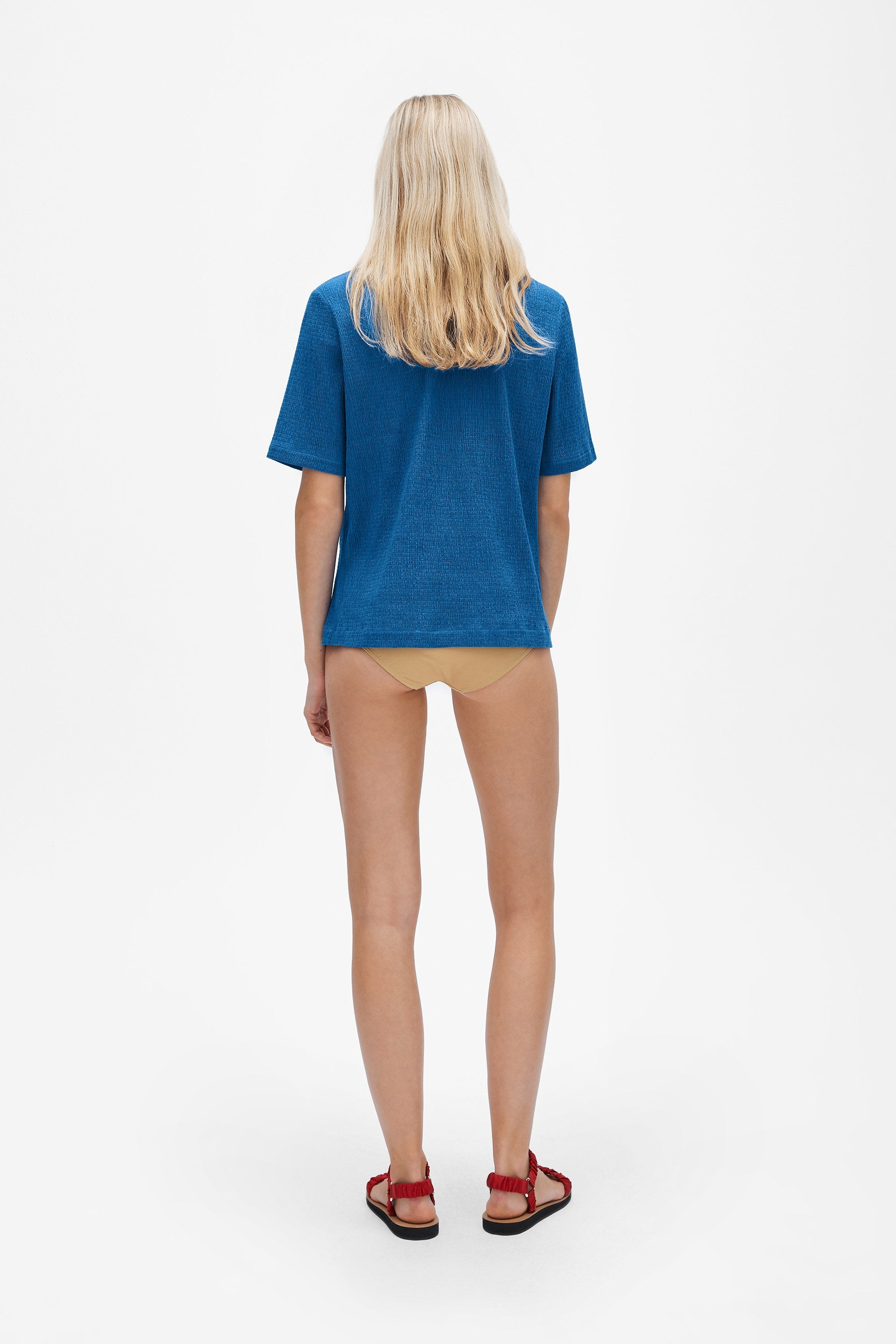 Classic t-shirt - Shirred voile - True blue - Resortwear top - Her Line