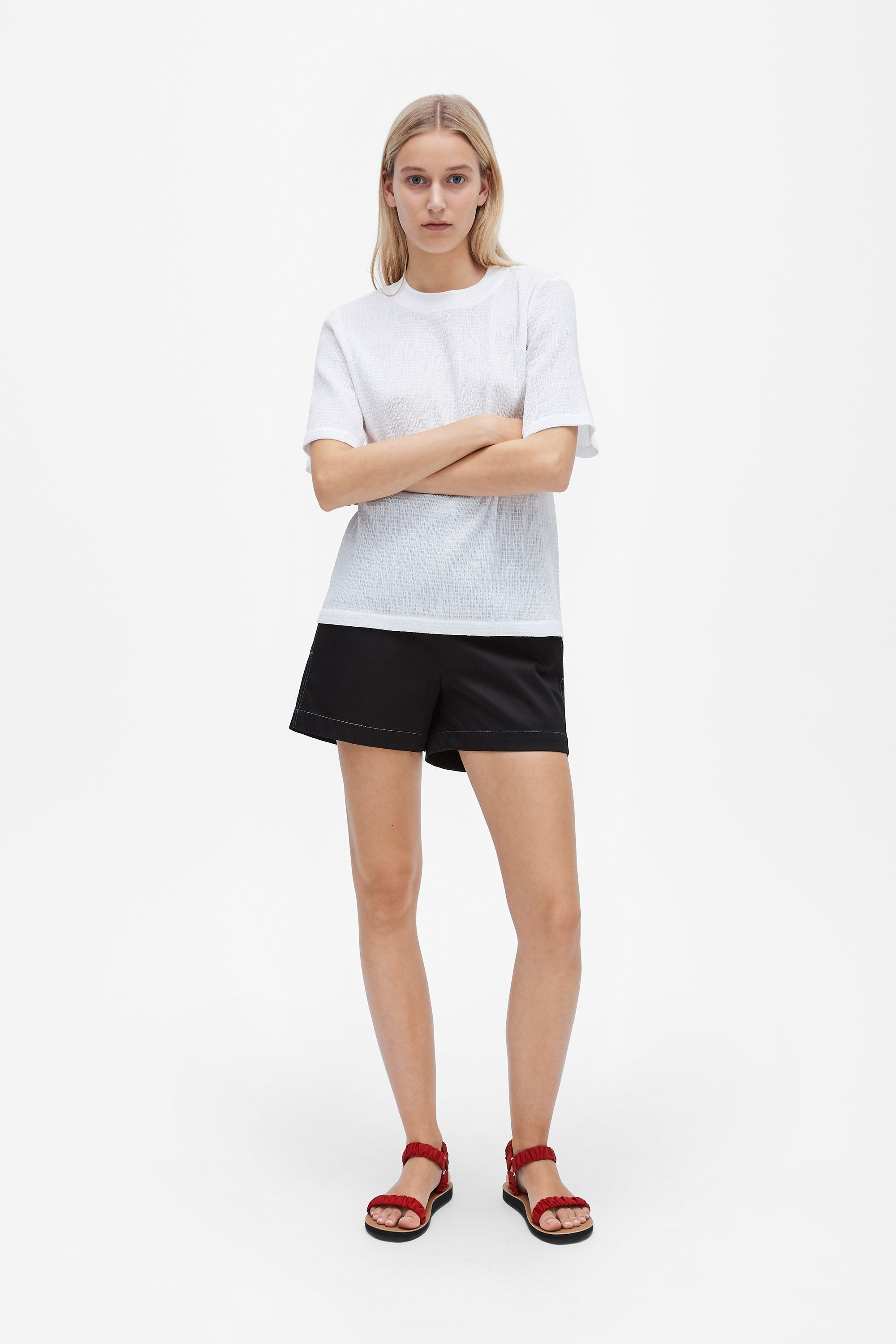 Classic t-shirt - Shirred voile - White - Resortwear top - Her Line