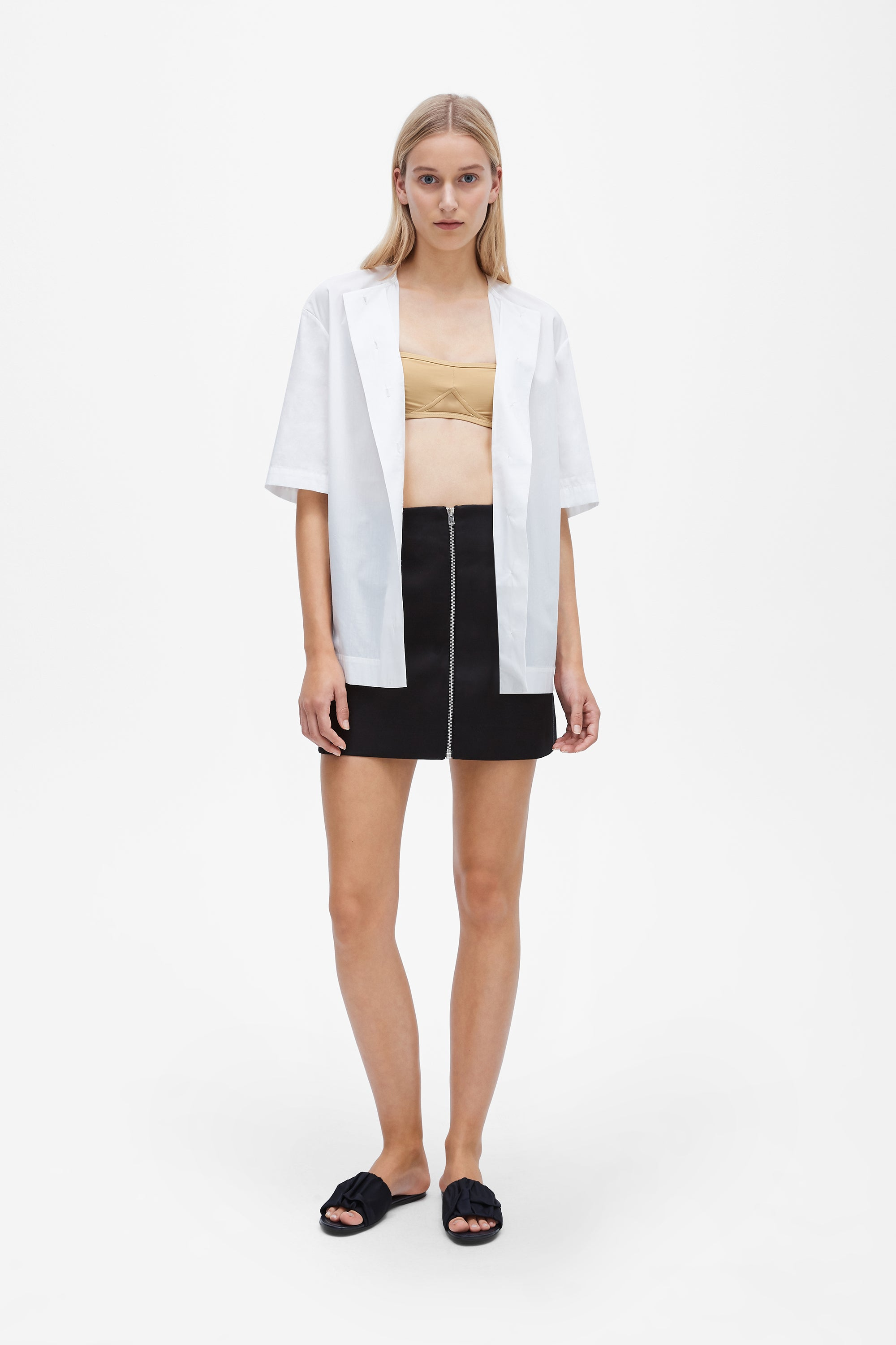 Button up short sleeve shirt - Silk cotton poplin - White - Resortwear top - Her Line