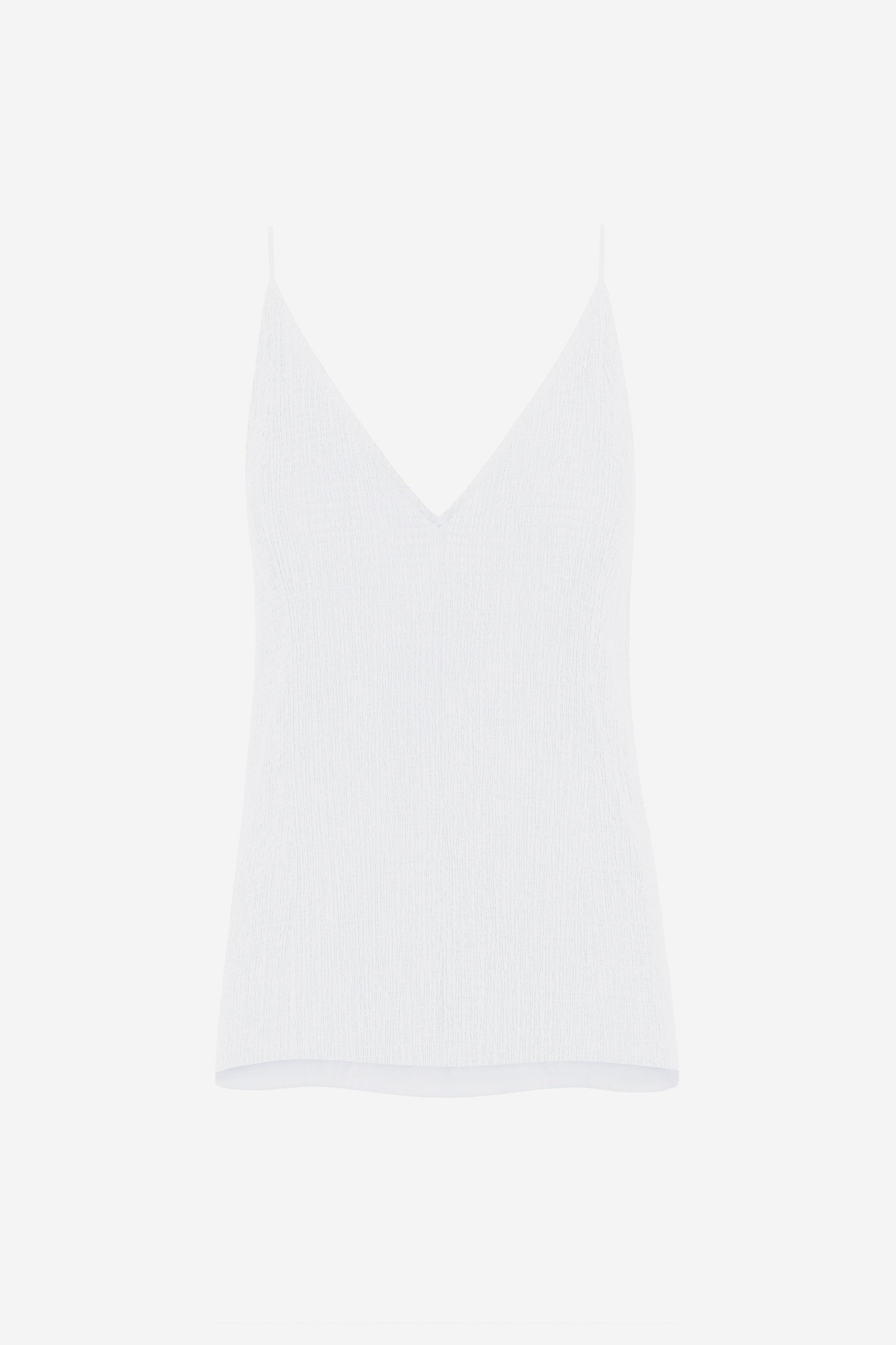 Split cami top - Shirred voile - White - Resortwear top - Her Line