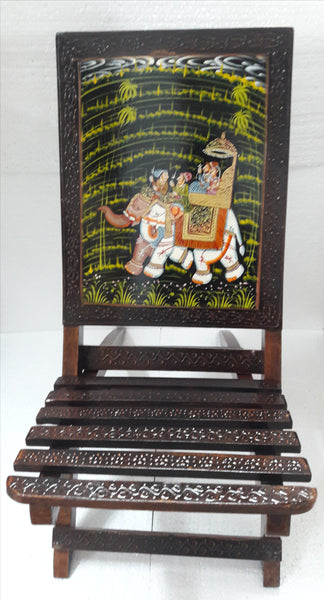 Ethnic Rajasthani Wooden Foldable Chair- Set of 2 - Hire-it Technologies