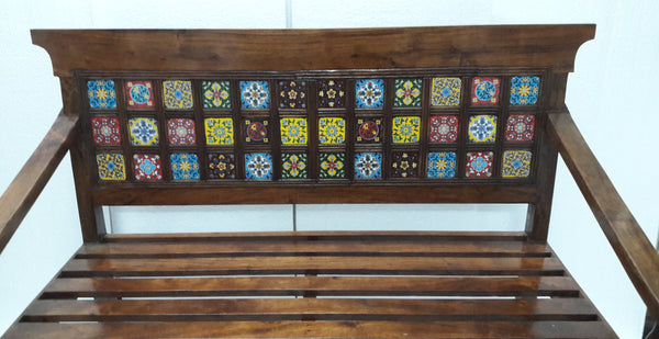 Ethnic Pure Sheesham Wooden Bench with designer multi color Jodhpuri Tiles. - Hire-it Technologies