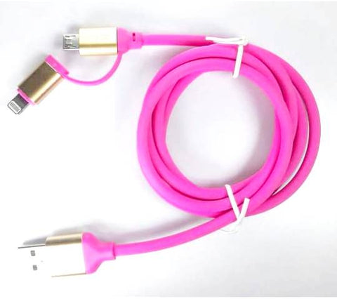 2 - in - 1 USB Type Data & Charging Cable - Lightning & Micro USB Port - Pink- 1 Meter - 2 A - Hire-it Technologies