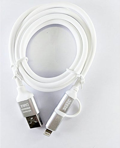 2 - in - 1 USB Type Data & Charging Cable - Lightning & Micro USB Port - White - 1 Meter - 2 A - Hire-it Technologies