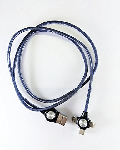 3 -in - 1 USB Type Data & Charging Cable - Type C & Micro USB & Lightning Port - Denim fabric - Blue Colour - 1 Meter - 2 A - Hire-it Technologies