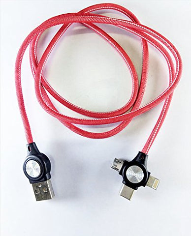 3 - in - 1 USB Type Data & Charging Cable - Type C & Micro USB & Lightning Port - Denim Fabric - Red Colour - 1 Meter - 2 A - Hire-it Technologies