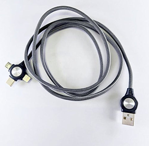 3 - in - 1 USB Type Data & Charging Cable - Type C & Micro USB & Lightning Port - Grey Colour- 1 Meter - 2 A - Hire-it Technologies