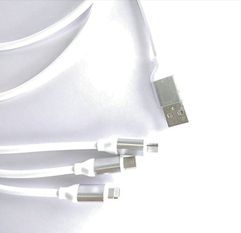3 - in - 1 USB Type Data & Charging Cable - Type C & Micro USB & Lightning Port - White Colour- 1 Meter - 2 A - Hire-it Technologies