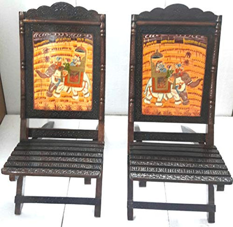 Ethnic rajasthani wooden foldable chair with scenery design- Set of 2'  Cocunut Brown - Hire-it Technologies