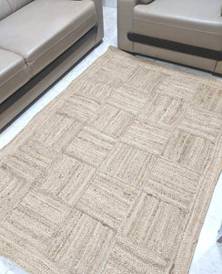 Detec Homze Jute Single Piece Floor Rug - 122 X 122 cm - Beige Color