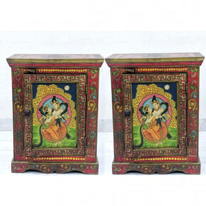 Tibetan single drawer almirah (set of 2)