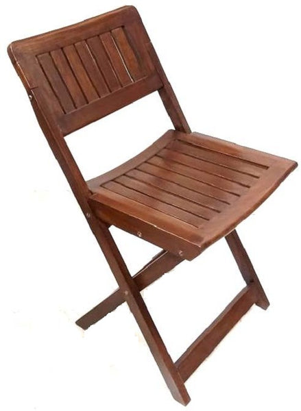 Polished Wood Foldable Chair - Dark Brown (Model: 113) - Hire-it Technologies