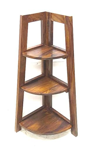 3 Shelves Sheesham Wood Corner ( Model : 236 ) - Hire-it Technologies