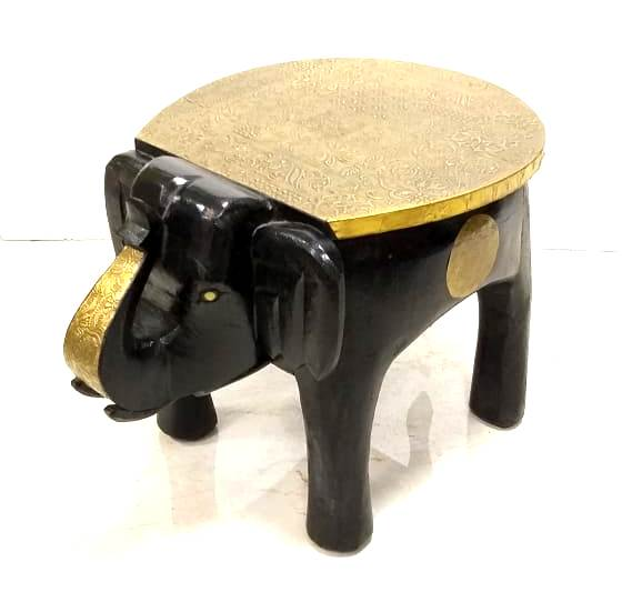 Traditional Round Elephant Shape Rajasthani Golden Patra Wooden Stool ( Model : 223 )
