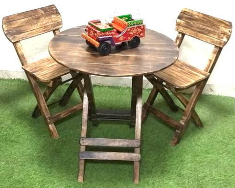 Wooden Kids Foldable Chair with Round Table Set