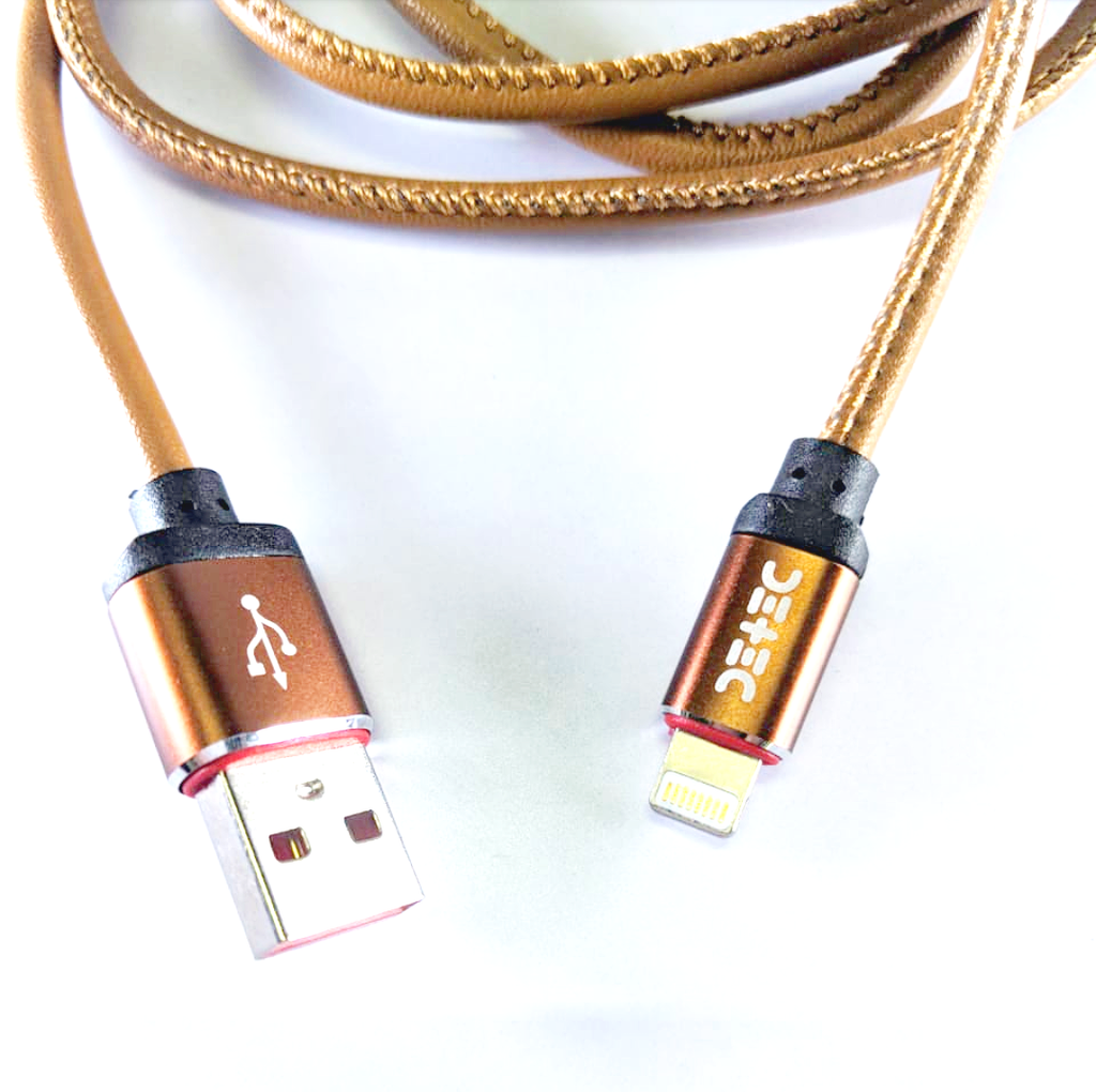 Brown Leather USB 2.5 A Type - Lightning (iPhone) Port - Data Charging Cable- 1 Meter - 480 Mbps Transfer Speed - Hire-it Technologies