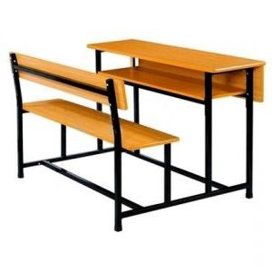 Classroom Desking & Seating - Four Seater - Intergrates Desk & Seating with Shelf - Storage under Desk