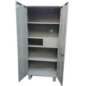 Almirah Steel 5 Fixed Shelves with Locker Power Coated with Gutta Packing (Steel Grey)
