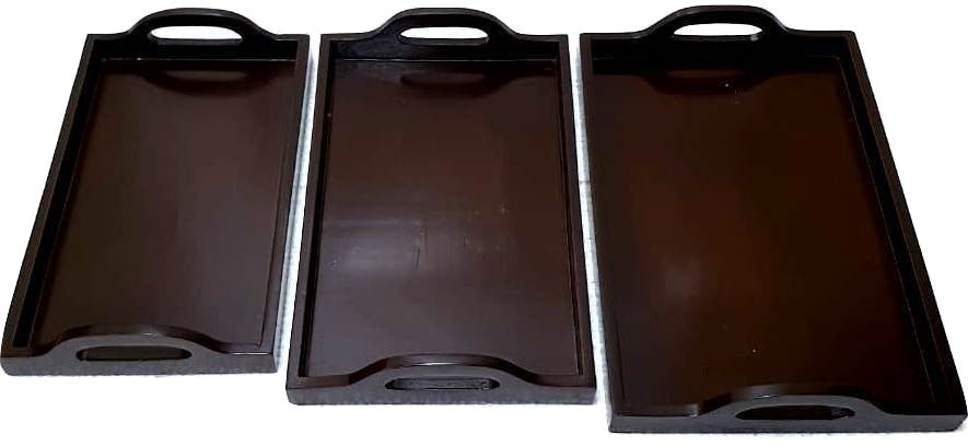 Premium Quality Wooden Serving Tray - Dark Brown Color - Set of 3 (Model: 108) - Hire-it Technologies