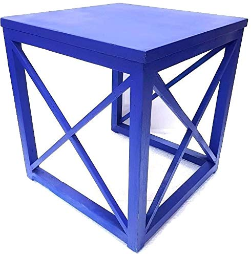 Elegant Crisscross Designed Multipurpose Side Table - Blue Color (Model: 177) - Hire-it Technologies