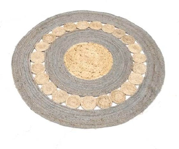 Jute Round Shape Single Piece Floor Rug - 122 X 122 cm - Grey Color (Model: 118) - Hire-it Technologies