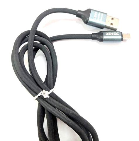 Black - Zinc Metal & Slim Connector USB Type - Micro USB Port - Data Charging Cable - C128_Micro_Black - 1 Meter - 480 Mbps Transfer Speed - Hire-it Technologies