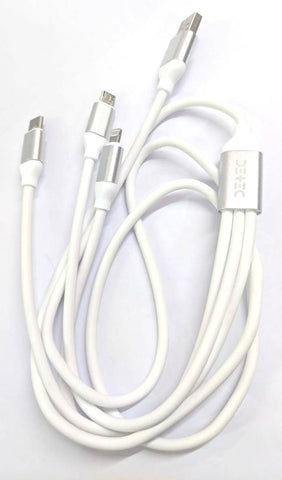 3 - in - 1 USB Type Data & Charging Cable - Type C & Micro USB & Lightning Port -White Colour - 1 Meter - 2 A - Hire-it Technologies